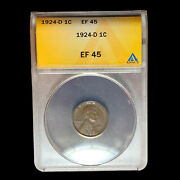 1924 D Anacs Xf-45 Lincoln Cent Wheat Penny W9060