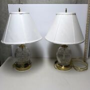 Pair Of Large High Quality Irish Waterford Crystal Table Lamps With Shades