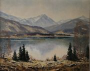 Painting Signed Mountain Landscape With Lake
