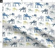 Delft Equestrian Hunter Horse Pony Blue White Spoonflower Fabric By The Yard