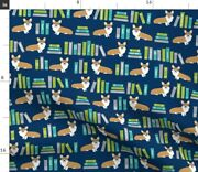 Corgi Library Book Librarian Dogs Blue Books Spoonflower Fabric By The Yard