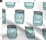 Mason Jar Vintage Squares Blue Watercolor Blue Spoonflower Fabric By The Yard