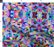 Colorful Painted Blue Pink Painting Rainbow Spoonflower Fabric By The Yard