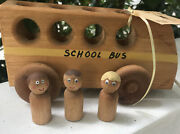 Hand Crafted Wooden School Bus With People 4 Piece Childs Pull Toy Vintage 9andrdquo Ny