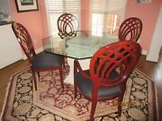 7-pc Designer Dining Table Set + Rug. Octagonal Glass Top + 4 Upholstered Chairs