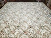 Vintage Floral Hand-knotted Area Rug Ivory Pak Persian Kirman 10'1 X 12' 6