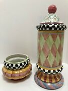 Set Mackenzie-childs Odd Fellows Taylor Large And Small Canisters - Cookie Jars
