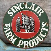 Vintage Sinclair Farm Products Porcelain Oil Gas Station Tractor Ranch 12andrdquo Sign