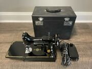 June,1950 Portable Singer 221-1 Sewing Machine- Beautiful Decals And Carrying Case