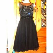 Vtg Mad Men Hollywood 50s-60s Cocktail Party Dress Gown W/ Rhinestones Beading