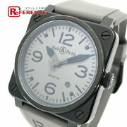 Bell And Ross Br03-92-s Date Aviation Used Watch Auto Ss Rubber Men's Black Ec