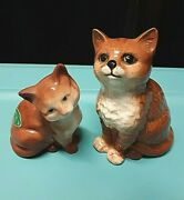 Vintage Pair Beswick England Orange Ginger Cat Statues Stamped Free Shipping