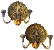 Vintage Palladio Hand Carved Wooden Seashell Candle Sconces Italy
