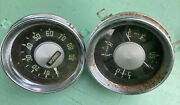 Vintage Round Speedometer And Oil Pressure Temp Fuel Amps Gauge V8 Auto Truck 50's