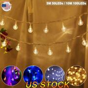 Led Crystal Ball String Lights Usb Operated Timer Dimmable Fairy Light Christmas