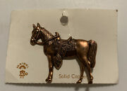 Vintage Navajo Maisel Solid Copper Horse Saddle Equestrian Pin Brooch On Card J8