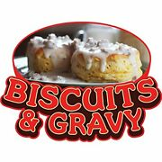 Biscuits And Gravy 48 Concession Decal Sign Cart Trailer Stand Sticker Equipment