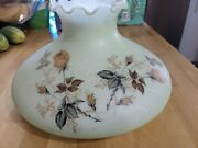 Large Antique Fenton Hand Painted Oil Lamp Shade