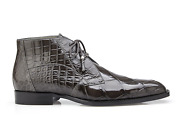 New Belvedere Mens Dress Shoes Ankle Boot Genuine Alligator Leather Gray