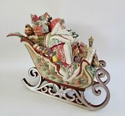 Rare Fitz And Floyd Enchanted Holiday Xl Santa Sleigh Soup Tureen And Ladle