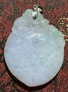 Icy Translucent A Jade 18k Lavender Green And White Peach Flower Monkey Pendant