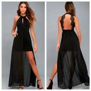 Nwot New Lulus My Beloved Black Lace Maxi Dress Large L Homecoming Prom 528932