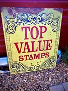 Vintage Original Early 1900s Top Value Stamps Double Sided Metal Sign Art Deco