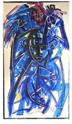Acrylic Painting On Canvas, Nude In Black White Blue, Neith Nevelson, 1998
