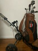 Vintage Golf Bag With Golf Clubs And 100 Golf Balls With All The Attachments