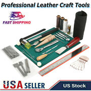 61pcs Leather Craft Working Tools Hand Sewing Supplies Stitching Groover Kit New