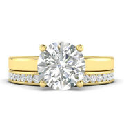 0.91ct H-si2 Diamond Round Engagement Ring 18k Yellow Gold Any Size