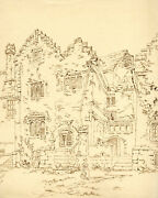 Alexander Monro Kitchen Entrance Holme Lacy House Heref Andndash 1836 Ink Drawing
