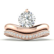 0.95ct G-vs2 Diamant Set Mariage Fianandccedilailles Bague 14k Or Rose Toute Taille