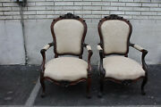 French Pair Of French Bergere Rosewood Armchairs, New Upholstery 19th C
