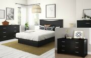 Double Dresser Six Drawer Spacious Storage Contemporary Style Black Brand New