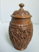 Intricately Hand Carved Wooden Jar W Lid - Leaves And Grapes 8 1/2 Tall 4 1/2w