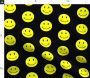 Black Yellow Happy Face Smile Smiley Face Spoonflower Fabric By The Yard
