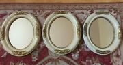 Three 3 Vintage Shabby Chic Style Oval Wood Frame New Mirrors Set 3, 13.5x11.5