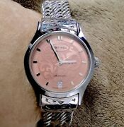 Lois Hill Automatic Sterling Silver Pink Face Watch