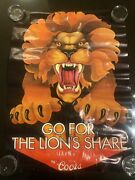 Coors Beer Lions Share Poster Extreamly Rare 20x28