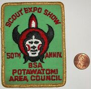 Bsa Oa Potawatomi Council Lodge 280 5oth Anniv Scout Expo Show Patch Gld Maylar