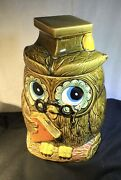Vintage Ceramic Cold Painted Wise Graduation Owl Cookie Jar Made In Japan 11andrdquo
