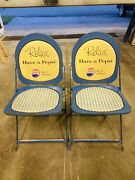 Vintage 1950and039s Pepsi Cola Metal Folding Chairs Soda Advertising Hostess Pair