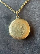 Antique 9ct Round Rose Gold Locket And Chain