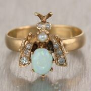 1880's Antique Victorian 14k Yellow Gold 1ctw Opal And Diamond Bumblebee Ring