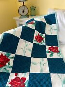 Quilted Throw - Vintage Wilendur American Beauty Rose, Vintage Chenille