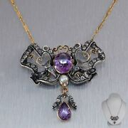 1880 Antique Victorian 14k Yellow Gold Silver 5ctw Amethyst Diamond 19 Necklace