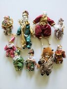 Lot Of Vintage Collectable Clowns Q-tee Harlequin And Mini Porcelain Clowns