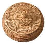 Round Rattan Boxes With Lid Hand-woven Multi-purpose Wicker Tray Picnic Basket