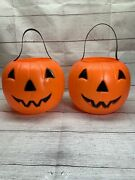 2 Vintage Empire Blow Mold Candy Buckets Pumpkin Trick Or Treat Pails Usa